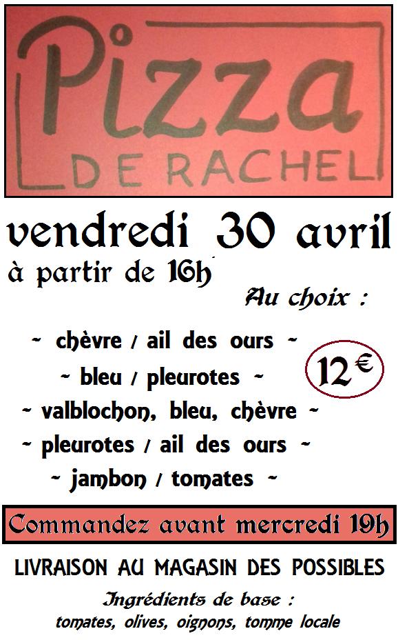 PIZZAS RACHEL 30 avril